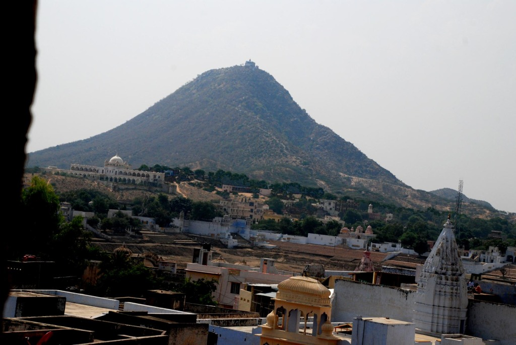 Pushkar from the terrace - The Savitri Temple atop the hill watches over the town. We climbed the 700 steps leading to the temple in the evening