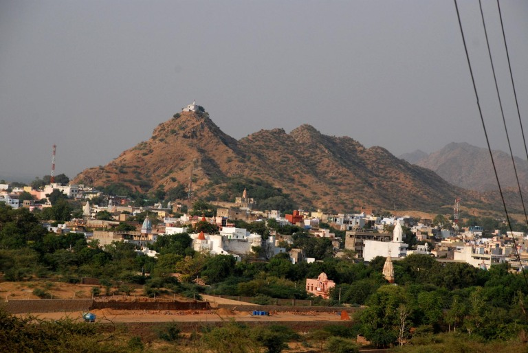 Pushkar viewed from the initial stages of the climb