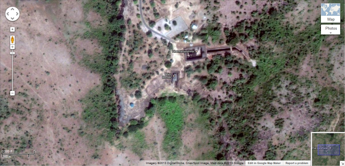 Dharmarajeshwar, as seen from Google Earth. All along the edge of the cliff are numerous Buddhist caves
