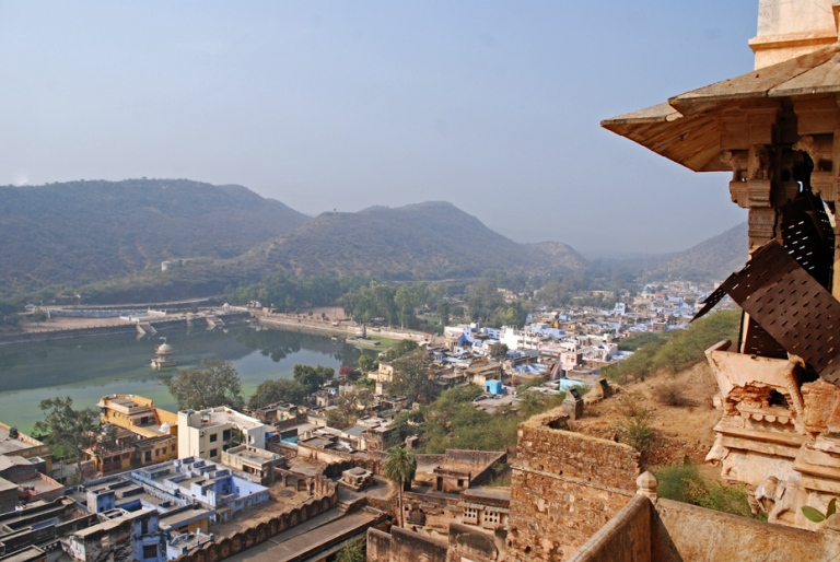 Nawal Sagar Lake and the tourist district as seen from the fort