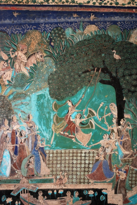 One of the more famous murals from Chitrashala, showing women celebrating the Teej festival