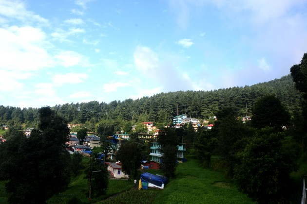 View of Dharamkot village the and forest that looks over it