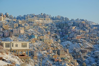 Even the concrete jungle of Shimla looks pretty under a coat of snow